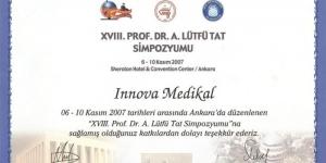 XVIII. Prof. Dr. A. Lütfü Tat Simpozyumu, Ankara<br>06 – 10 Kasım 2007