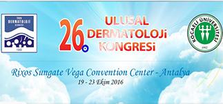 26. Ulusal Dermatoloji Kongresi &#8211; Rixos Sungate, Antalya <br />19-23 Ekim 2016